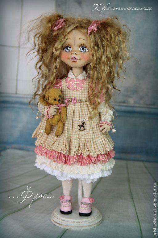 Купить Фрося(резерв) . Кукла авторская текстильная . Кукла ручной работы . - бежевый, розовый, белый, шебби