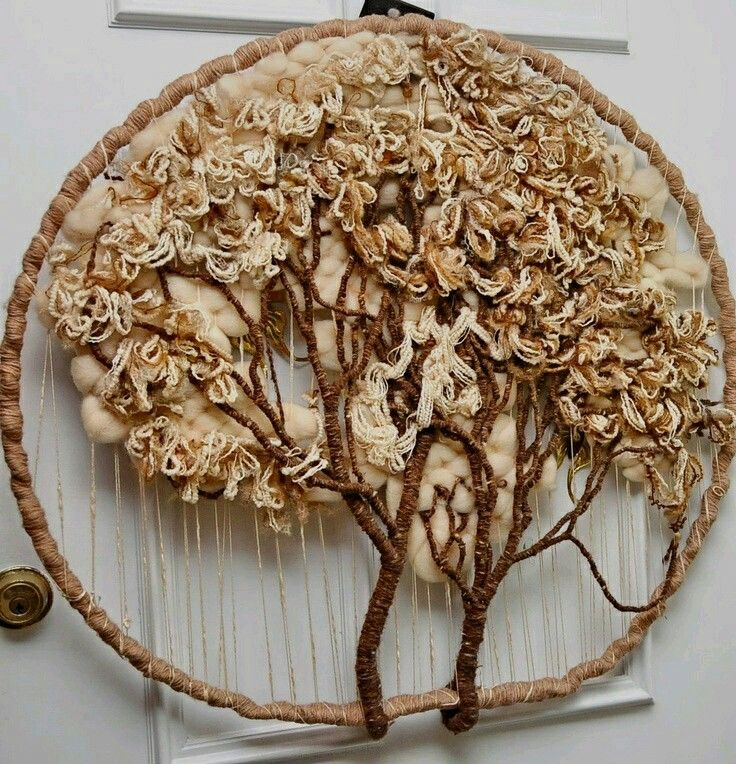 brown - tree - fiber art - Vintage item from the 1970s - Materials: Sweater yarns, rug yarns
