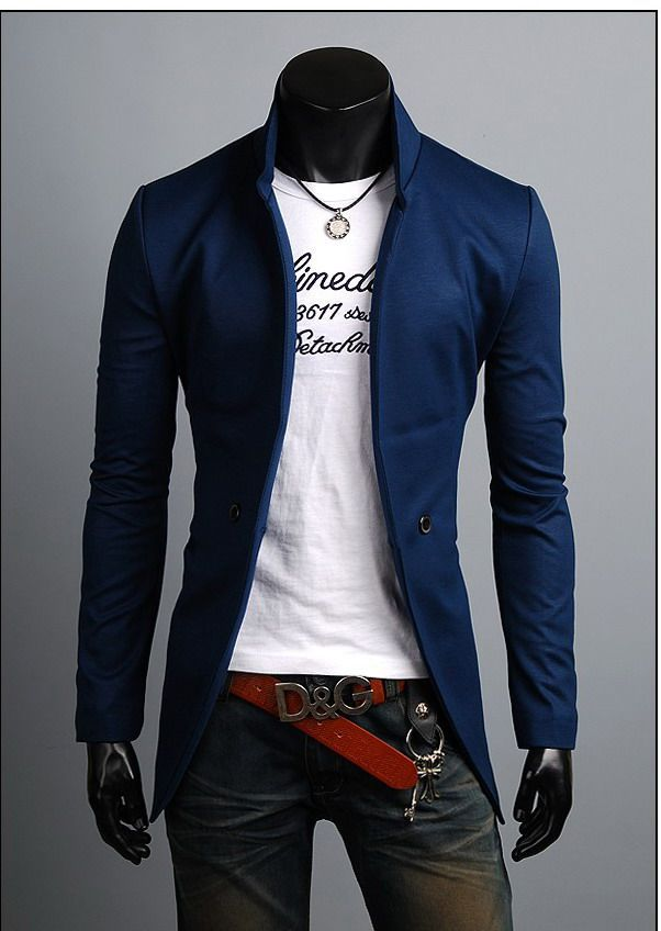 Mens New Leather Lapel Slim Fit Casual Business Blazer Jacket Coat Outwears hot