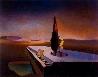 Fuente necrofila manando de un piano de cola. Salvador Dali