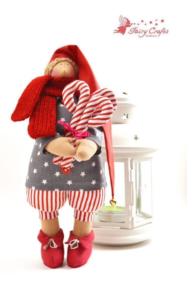 Купить Рождественский гном по мотивам Тильда - ярко-красный, рождество, Новый Год