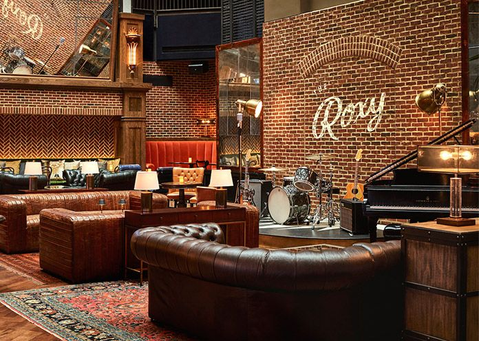 Bar and seating area in The Lounge at The Roxy