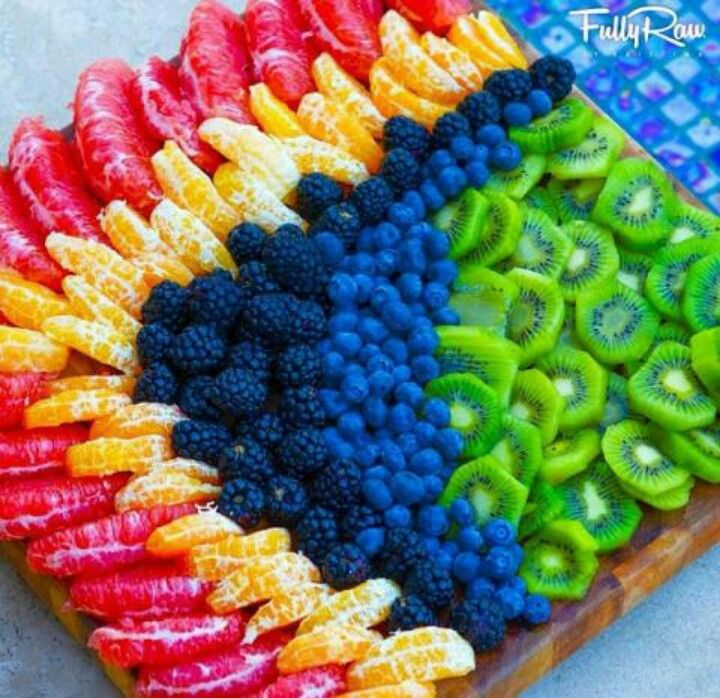 Fruit platter in rainbow colors
