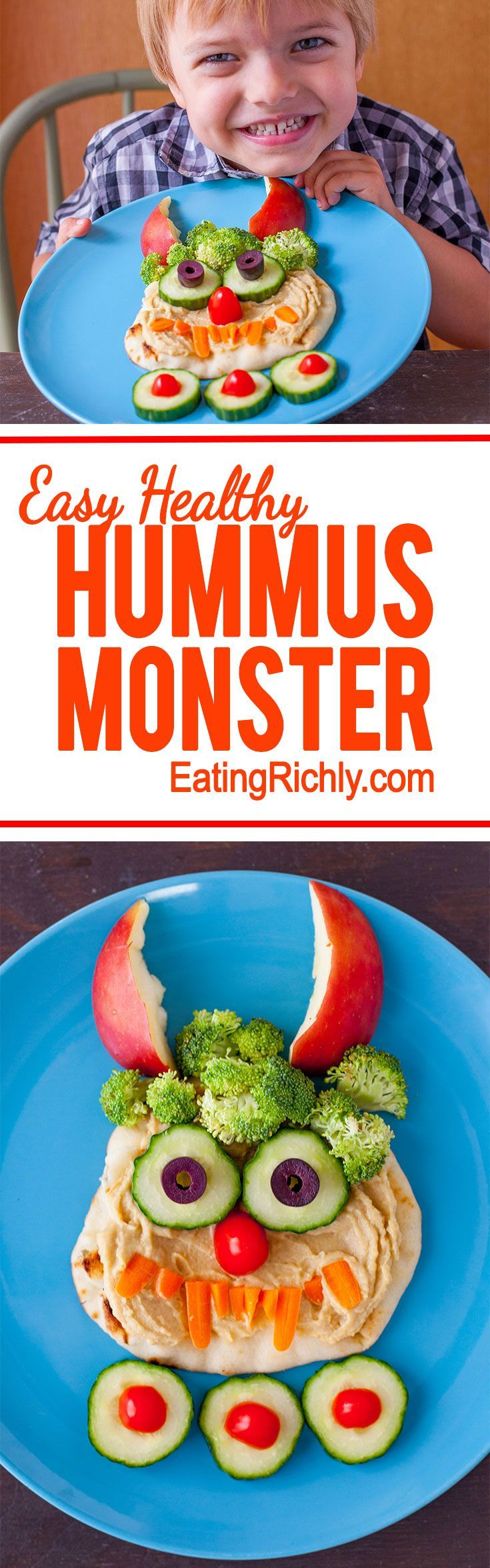 This friendly hummus monster is adorable any time of year, but makes the perfect healthy Halloween lunch for kids. And it's so easy to make!