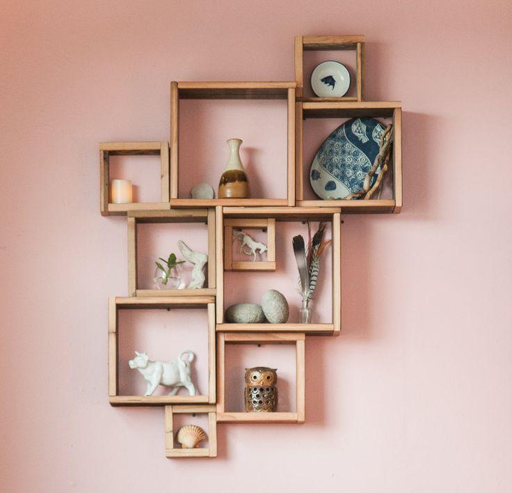 Barn Wood Shadow Boxes Modular Square Shelves 109 00