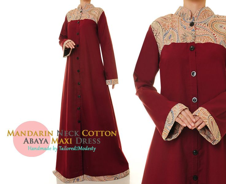 Maroon Red Button Down Summer Cotton Linen Long Sleeved Abaya Maxi Dress - Size M/L or Plus Size XL/1X (6173 /2980) FREE SHIPPING! by Tailored2Modesty on Etsy