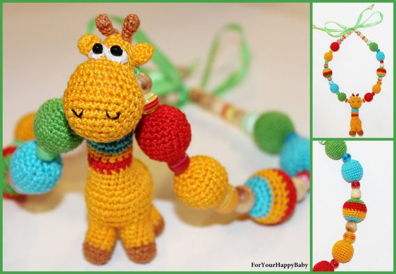 Nursing necklace Breastfeeding necklace with amigurumi giraffe - FREE SHIPPING