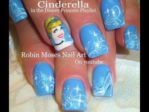 Nail Art Tutorial | Cinderella Nails | Disney Princess Nail Design -Robin Moses  YouTube