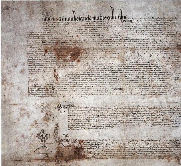 Het document waarmee Hendrik de Achtste zijn huwelijk met Catharina van Aragon ongeldig verklaarde. Hij had de macht om zijn belofte te breken. Catharina eindigde haar leven in een vorm van huisarrest. Hendrik kreeg daarna als hoofd van de Anglicaanse kerk een kerkelijk huwelijk met Anne Boleyn.