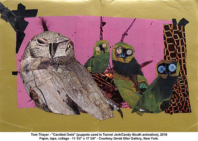 Tom Thayer - Candied Owls   Flickr - Photo Sharing!: Toms, Candied Owls, Collage, Contemporary Art, Tom Thayer, Art Owls, Art Full, Owls Puppets