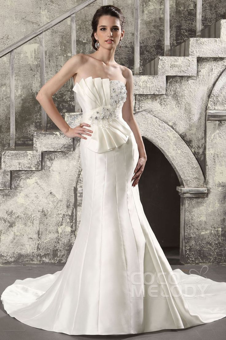 New Design Trumpet-Mermaid Strapless Sweep-Brush Train Satin Wedding Dress CWLT130BD #weddingdress #cocomelody