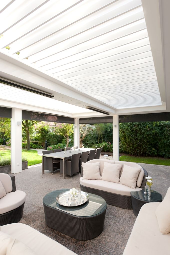 Combo of most wish list elements!!  180 Linear Opening Roof Centre bulkhead for lighting & heating.  Rendered pillars with built in track blinds.