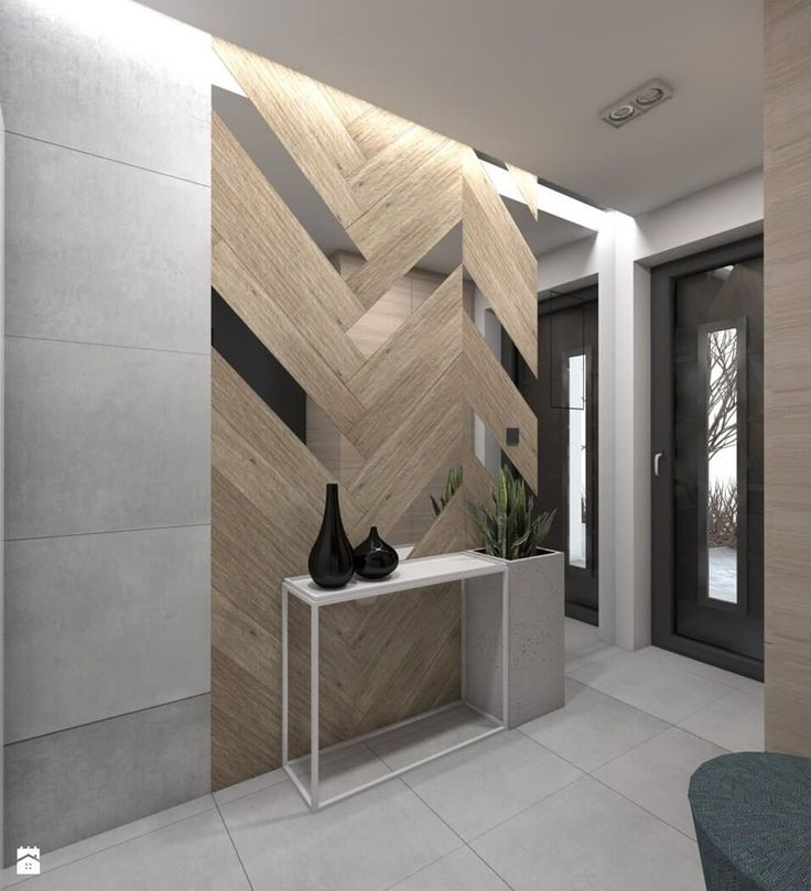 Contemporary and Abstracted Chevron Wood Wall