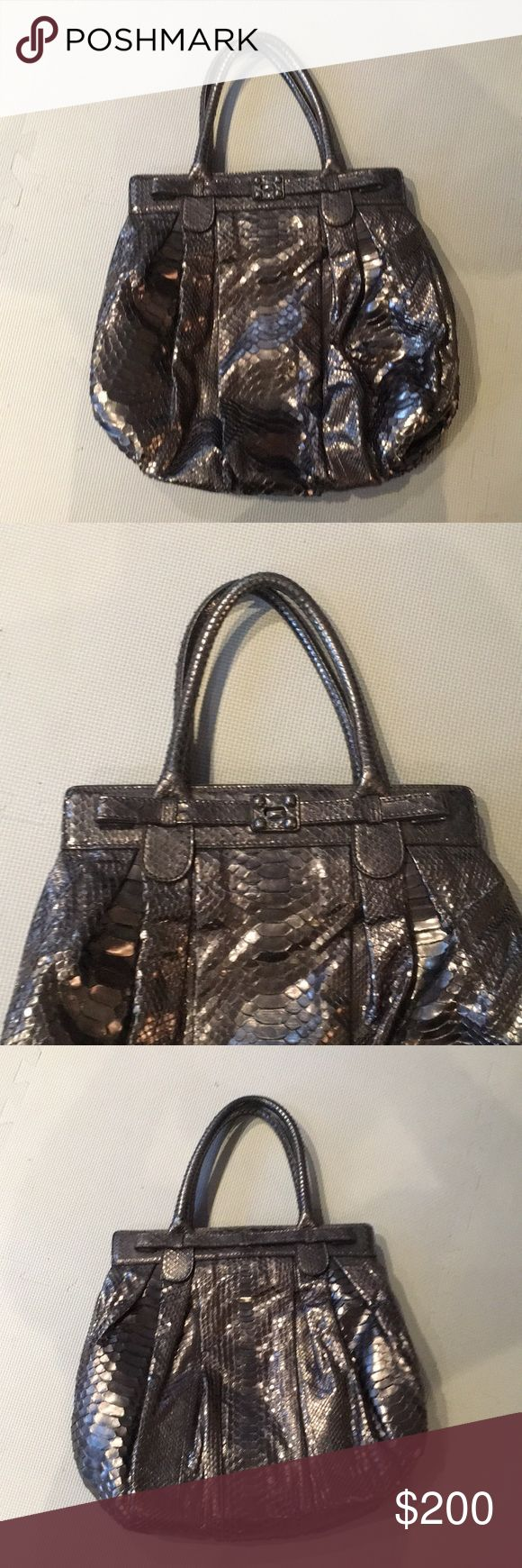 Zagliani Python Bag Zagliani Pewter Python Puffy Hobo Bag. Retails for 4,350 The python of Zagliani's Python Puffy is made using their special silicone-injected skins so they are soft and supple! Under the handles with their drop of 6.25 inches, a tab lock comes through the soft frame at the top to the front, opening to a brown suede lining with two sections inside. The front section has a cell phone pocket, the back section has a zipped pocket. A large and slouchy bag with silver hardware…