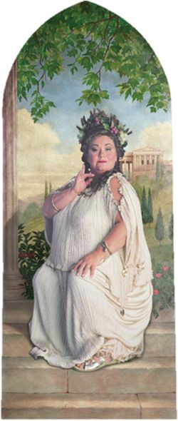 Dawn French as the Fat Lady in the later Harry Potter movies -- The Fat Lady guarding Gryffindor Tower -- The Fat Lady is a portrait, who guards the entrance to Gryffindor Tower at Hogwarts Castle. She asks for passwords before she lets anyone in, then swings her picture backward so that students could enter through a portrait hole.