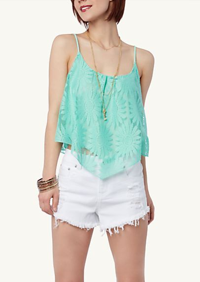 image of Daisy Crochet Crop Swing Tank $16.99