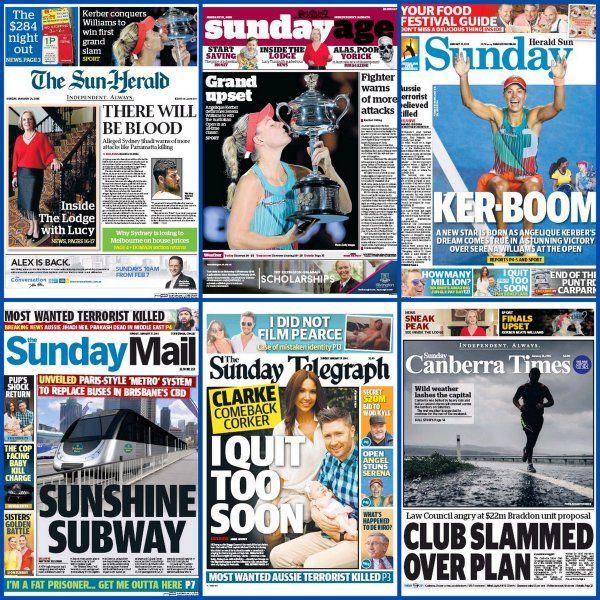 #20160131 #Australia #AustraliaNEWSpapersToday Sunday, JAN 31, 2016 Australian Sunday newspaper front pages for 31 January 2016 #frontpagestoday #AusOpen #kerber