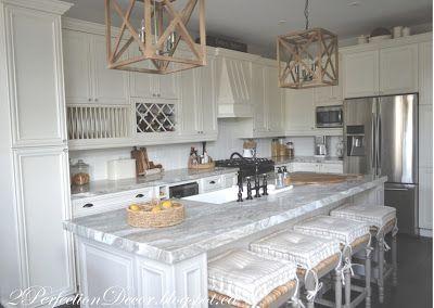2PerfectionDecor.blogspot.ca ,Kitchen Reveal, touch of farmhouse, wood pendants, large island, Fantasy brown quartzite granite, BM linen white painted cabinets