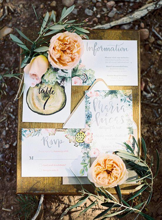 floral inspired wedding invitation suite