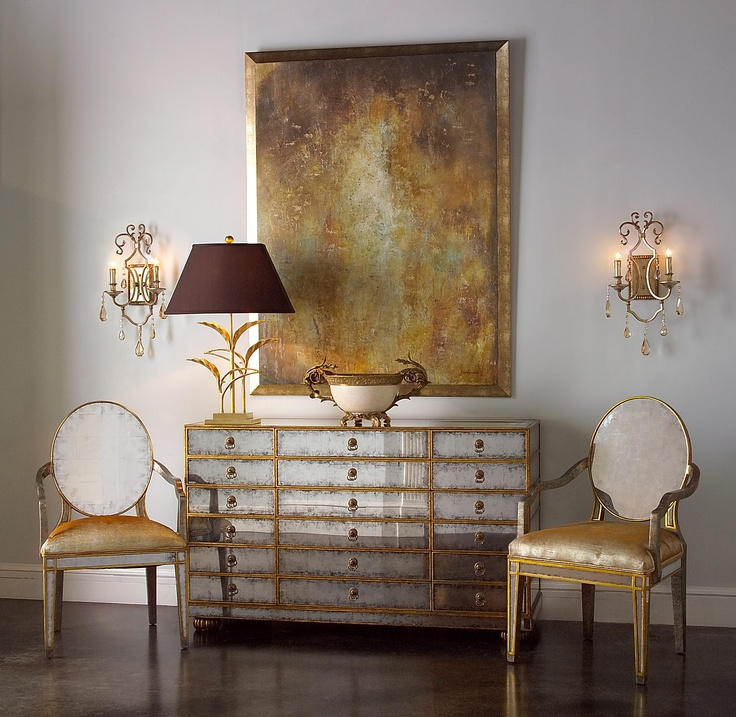 Superb From The John Richard High Point Showroom, This Vignette Features The 12  Drawer Eglomise Chest As The Anchor Of The Space. The Eglomise Chairs With  A Gilded ...