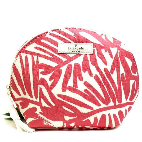 画像1: 【katespade】ケイトスペード パームツリー柄 化粧ポーチ コスメポーチ ピンク