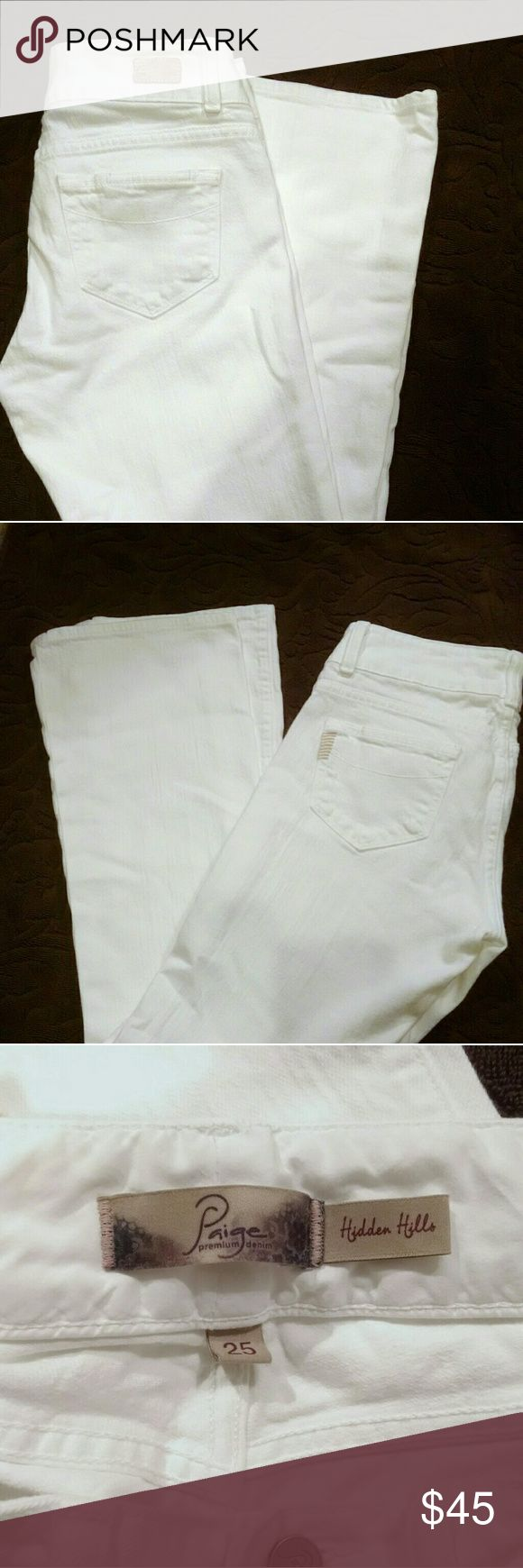 "NWOT Paige Jean Hidden Hills, 25 Brand New, adorable white Hidden Hills Paige Jeans, 27"" waist, 8"" rise, 29"" inseam, size 25. NWOT Paige Jeans Jeans"