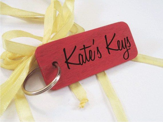 Personalised hand-painted wooden keyrings - any name & colour you choose!