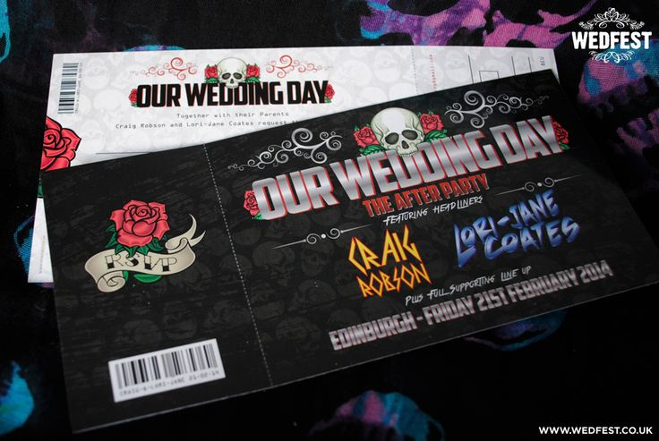 Heavy Metal Wedding Stationery - A few months back I posted some photos of some heavy metal themed wedding invitations I had made for a couple of Rockers from Edinburgh, Scotland. The theme they had been going for was 'Skulls and Roses' and the wedding invite designs turned out awesome as you can see below.