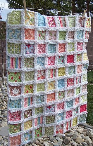 """Baby Rag Quilt. I think a cream colored minky dot fabric would be great for the """"rag"""" edges!"""