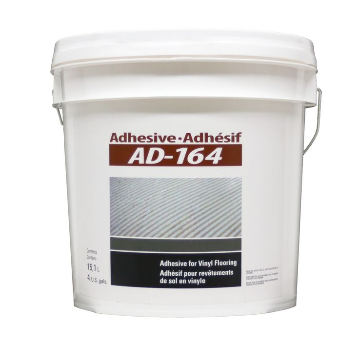 FREE SHIPPING! Adhesive AD-164 (4 gal.). This acrylic-based adhesive for vinyl flooring may be used as well for commercial, institutional and residential purposes.  For your vinyl flooring installation, the AD-164 is the solution that you need!