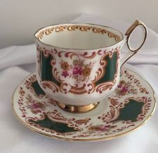 Green Enamel & Roses ELIZABETHAN English China Tea Cup & Saucer Gold Rim,Footed.