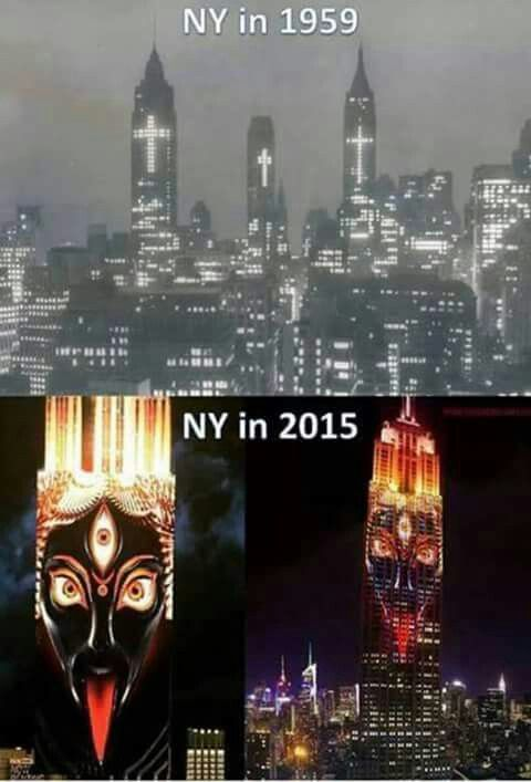 "Kali, Hindu goddess of death, time and doomsday, on Empire State Building - ""Woe to those who call evil good, and good evil; who put darkness for light, and light for darkness; who put bitter for sweet, and sweet for bitter!"" (Isaiah 5:20)"