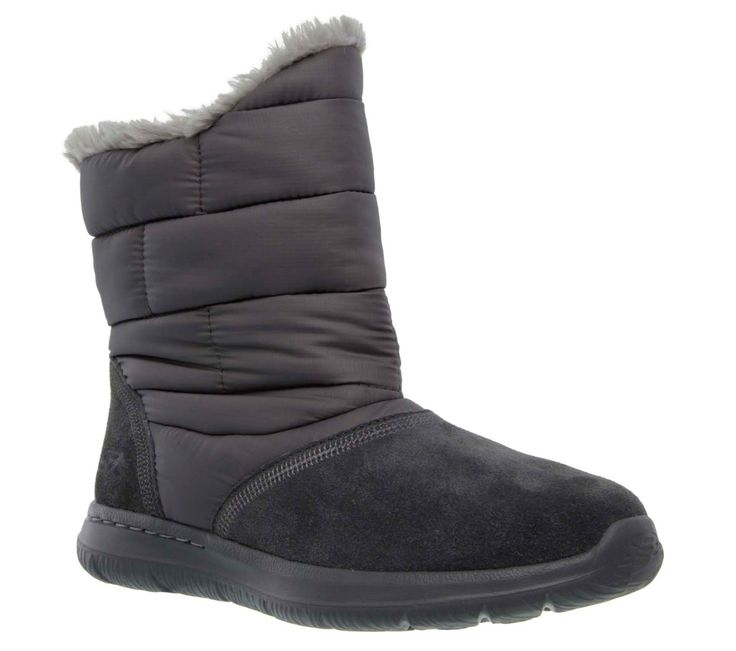 Chilly+days+are+no+match+for+the+comfort+and+style+of+the+Skechers+GOwalk+City+-+Quilt+boot.++Soft+suede+and+parka+nylon+fabric+upper+in+a+slip+on+casual+comfort+cool+weather+boot+with+faux+fur+lining,+Goga+Mat+insole+and+Resalyte+midsole.