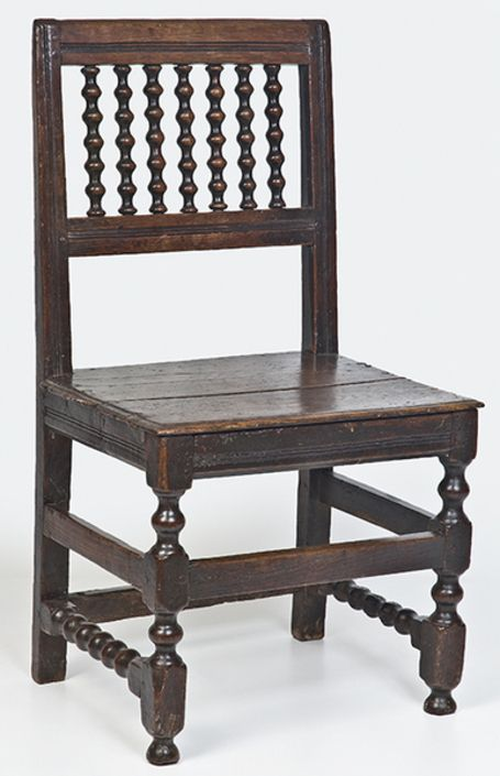 Allpress Antiques Furniture Melbourne Victoria Australia: 17th Century English oak spindle back side chair - UK1171