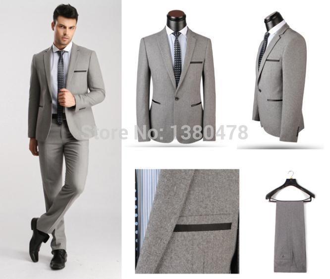 Однобортная официальный вечерние костюмы, Серый шерсть бизнес костюмы для мужчины, Xs-4xl свадьба костюмы для мужчины, Смокинг для мужчины
