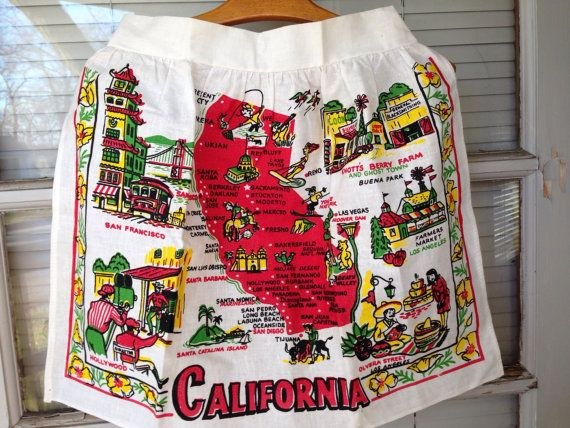Vintage Souvenir Apron with Map of California by LoveMaralie