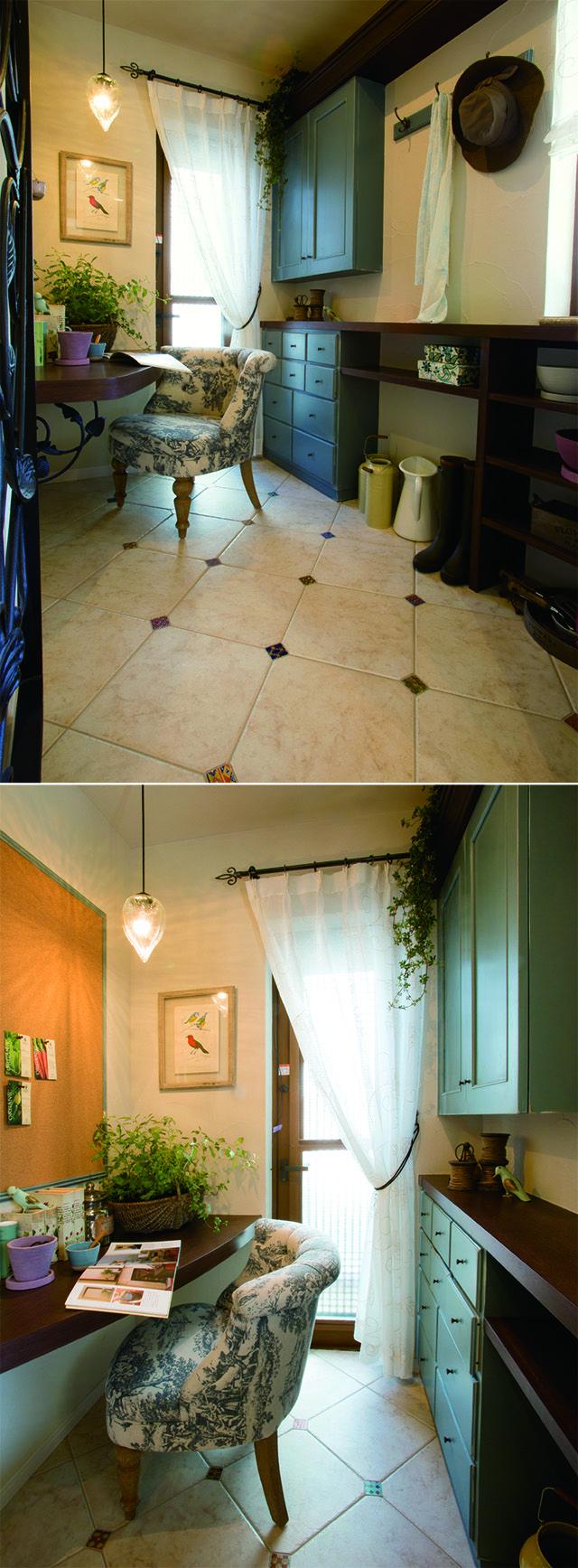 フレンチシャビーなインテリアでまとめた、奥様の隠れ家的な書斎。|インテリア|おしゃれ|自然素材|飾り棚|