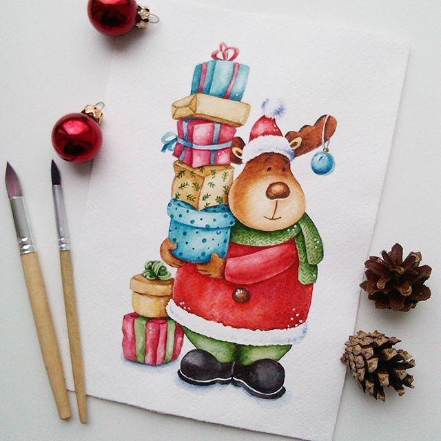Новогодний Валик с утра пораньше поздравляет вас всех со светлым днём Пасхи!) В ближайшее время Валентин в ленте появляться не будет, но если у вас есть для него интересные идеи, то я готова их рассмотреть! #акварель #рисунок #иллюстрация #персонаж #олень #открытка #watercolor #art #aquarelle #illustration #deer #postcard