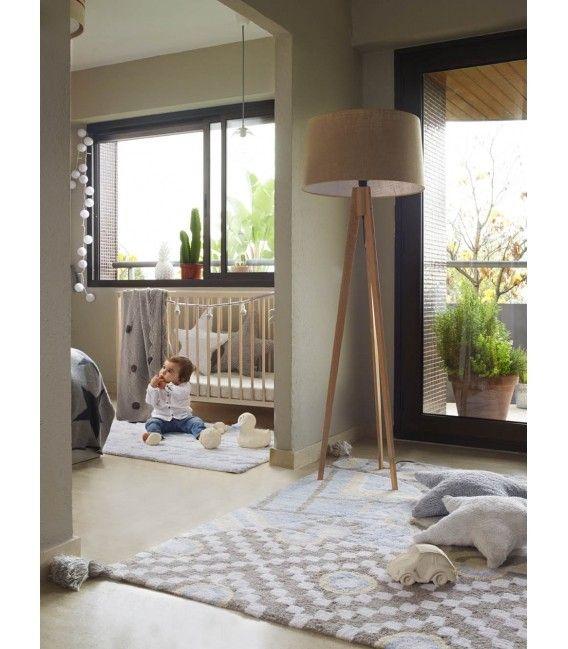Alfombra con un estampado inspirado en la India en tonos grises y azules ideal para darle un toque muy dulce y elegante al dormitorio, cuarto de juegos de los niños u otras estancias de la casa - Minimoi