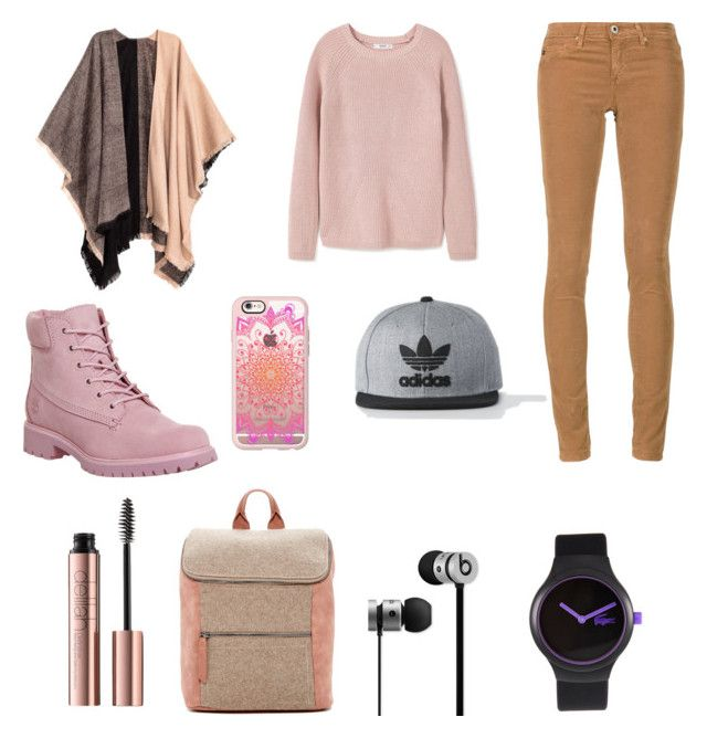 """""""For school❤️❤️❤️"""" by briana-maria-simon on Polyvore featuring MANGO, AG Adriano Goldschmied, Timberland, Beats by Dr. Dre, Lacoste, Danielle Nicole, Casetify and adidas"""