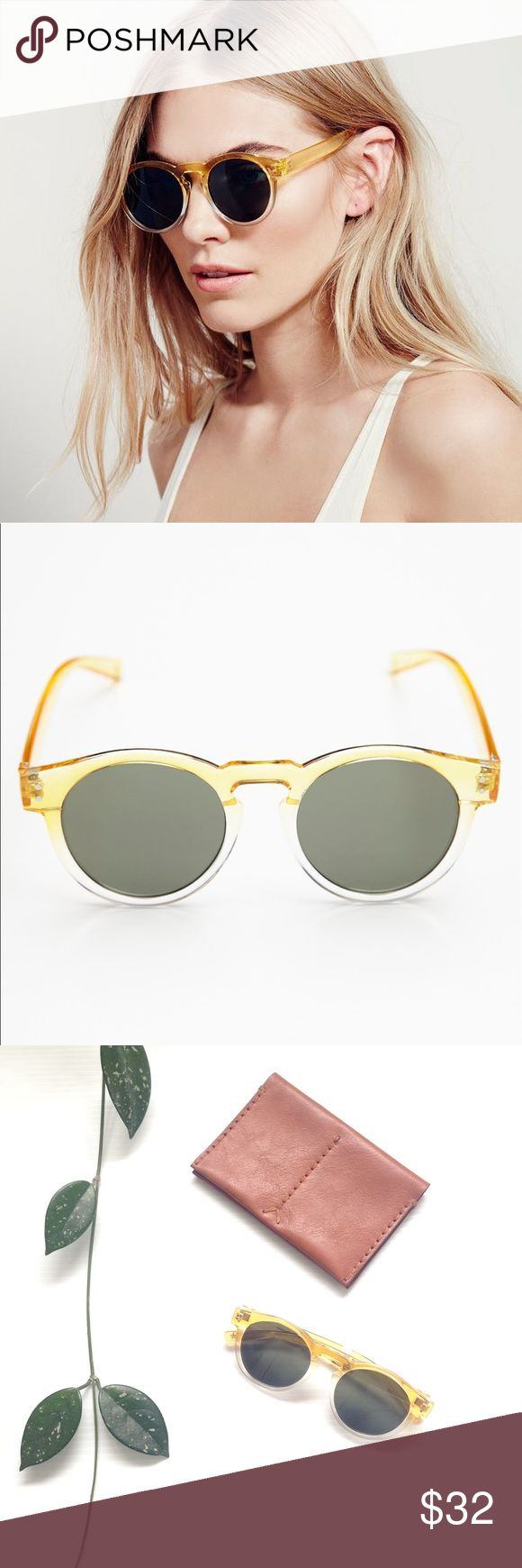 {NEW} NWT Free People Dixie two-toned sunglasses Hit the beach with this stylish pair of Free People's Dixie sunglasses, two-toned in sunny yellow-orange and clear! A perfect accent to that tribal maxi skirt and white tank! NWT! Free People Accessories Sunglasses