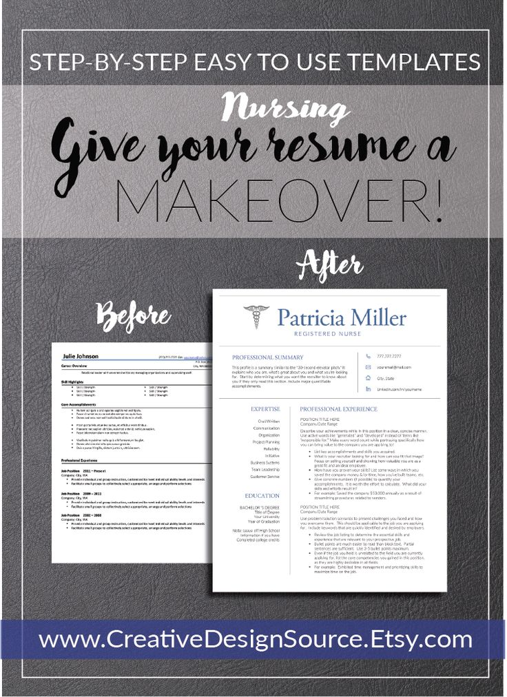 Nursing Resume Template / Nurse Resume Template that make it easy to look good!  Fully customizable & professional designed. www.CreativeDesignSource.Etsy.com