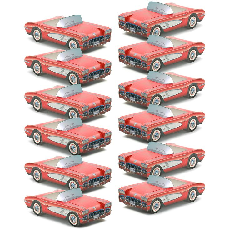 This set of 12 Classic Cruisers car cartons adds retro fun to any birthday party, reunion or anniversary. Made of thick paperboard, these paper replicas of vintage red Chevrolet cars fold together and make great candy dishes or table decorations. Available plastic food inserts lets you use them as food trays. Unique party favors for 1950s theme parties. Officially licensed. Measures 11