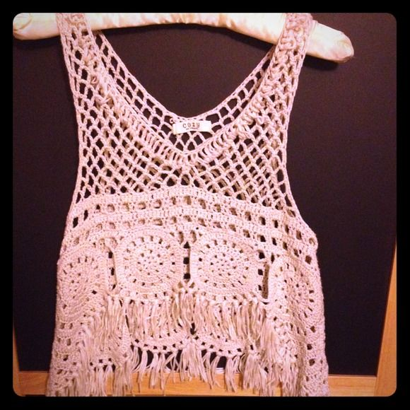 See through cover up See trough knitted cover up. Cute over bathing suits or a nude bandeau. Tops