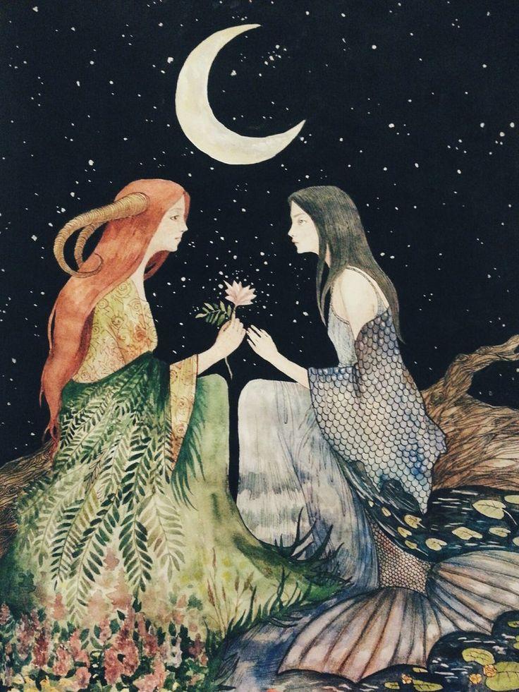 "Marina Kozinaki ""Fern blossom"" watercolor, witch, magic, moon, night, red hair"
