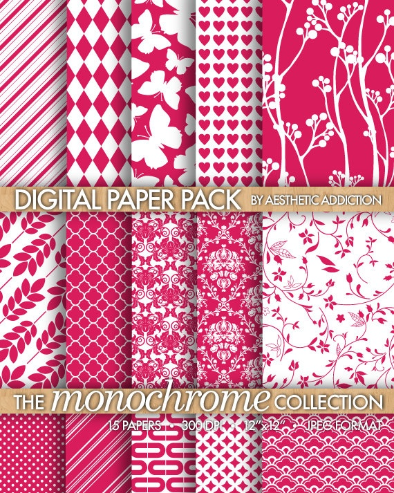 Neon Pink on White Printable Background Digital Paper for Personal or ...