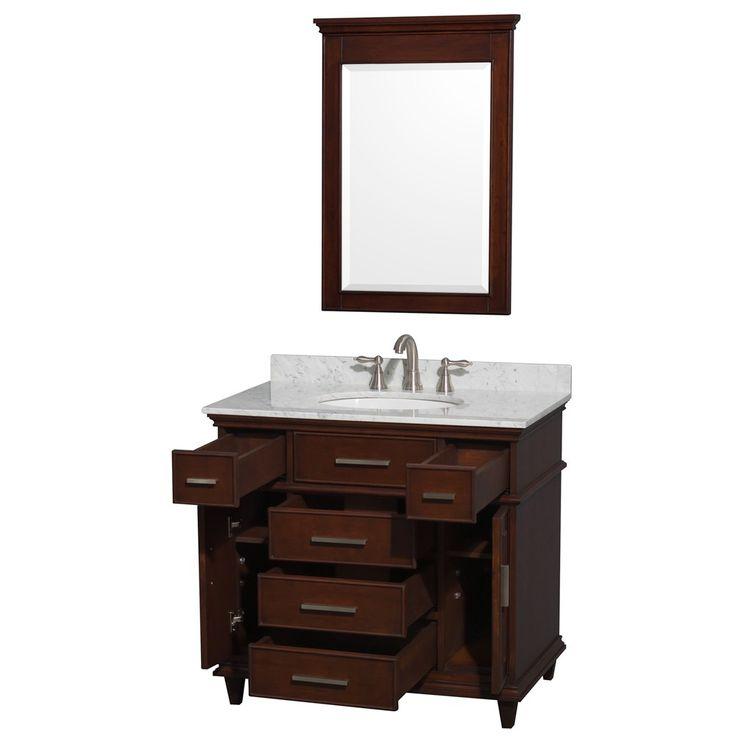 WYNDHAM COLLECTION Berkeley 36 Inch Single Bathroom Vanity   Dark Chestnut    White Marble With