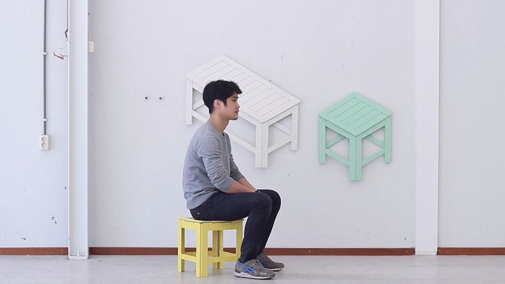 Furniture for small spaces hangs on the wall when not needed
