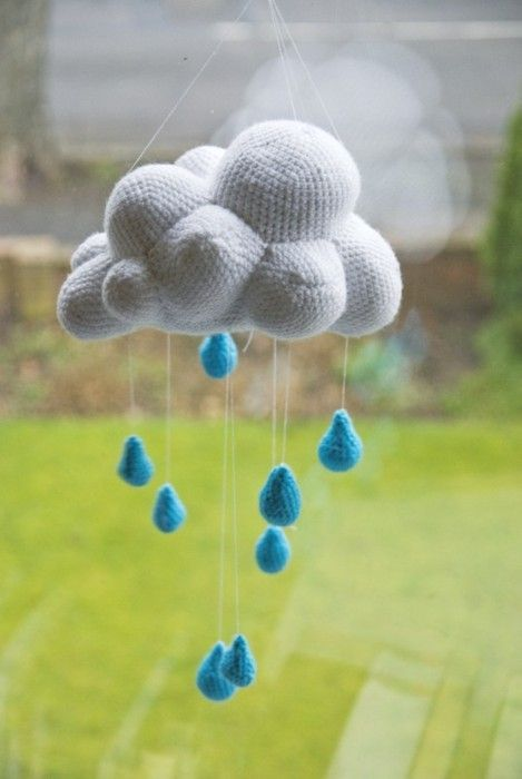 Crocheted cloud and raindrops