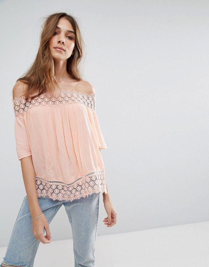 Miss Selfirdge Crochet Bardot Top - Orange